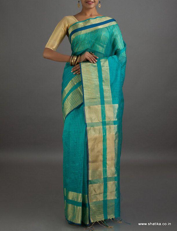 Kaya Blue Striped Pallu #MaheshwariSilkCottonSaree
