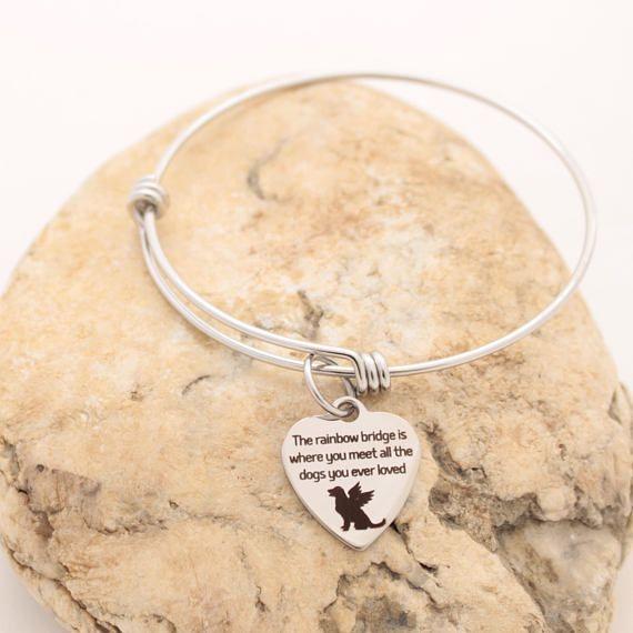 Rainbow Bridge Charm Bangle Bracelet Pet Memorial Jewelry