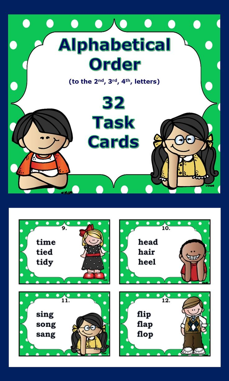 32 Alphabetical Order task cards grades 2-3....Students need to look at the 2nd, 3rd, 4th letters for placing these words into alphabetical order