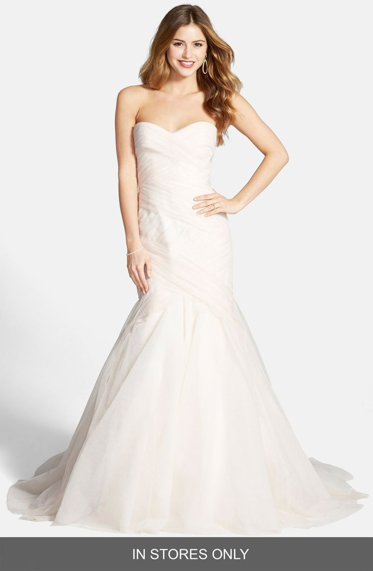 Stunning BLISS Monique Lhuillier Tulle Trumpet Dress In Stores Only