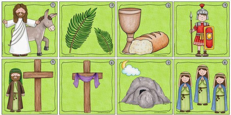 12 Lesekarten zur biblischen Ostergeschichte    Als ich heute die schönen Osterbildervon Kate Hadfield  entdeckt habe, musste ich gleich z...