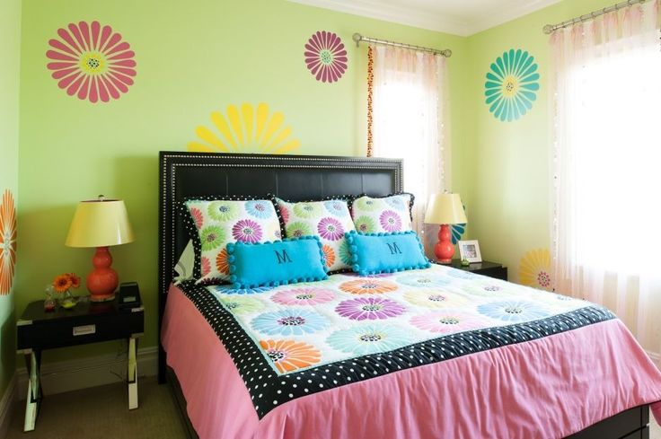 Bedroom, : Surprising Images Of Teenage Girl Bedroom Painting Ideas Using Rounded Cream Desk Lamps And Rectangular Black Wooden Tables Also With Pink Loose Curtains And Black Headboard Bed Includes Pink Motif Mattress Covers And Rectangular Blue Pillows