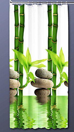 Textil DUSCHVORHANG 180x200cm Bambus mit Stein Grün Weiß inkl.Ringe