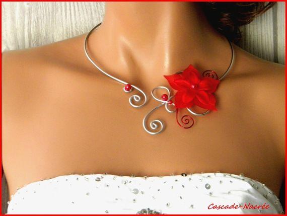˚•●๑ Maélys collier rouge argent mariage fleurs de soie 22 €