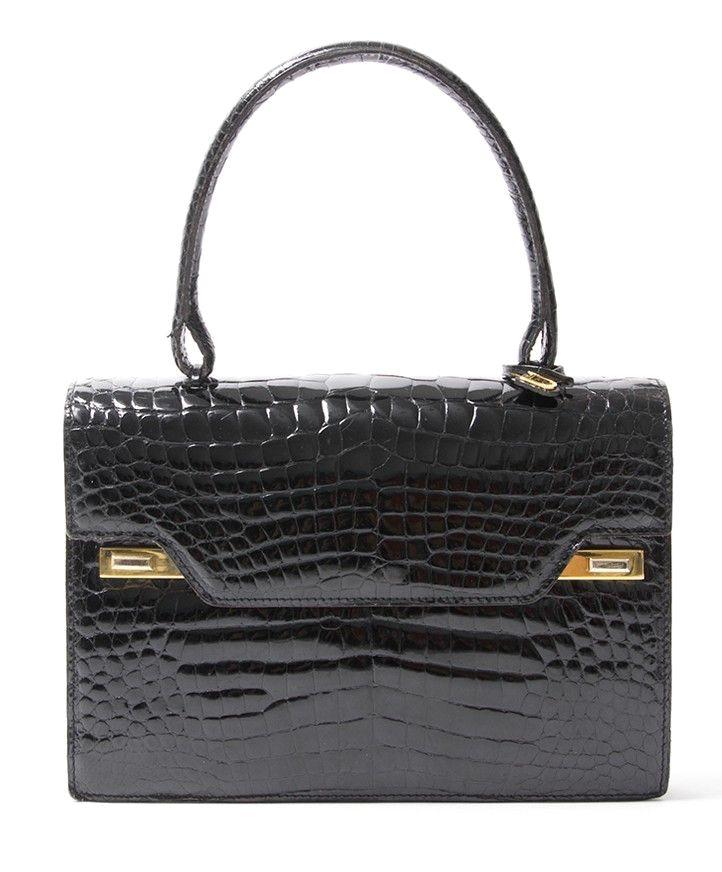 67eb3fecd954 buy safe online second hand designer vintage delvaux croco top handle bag  best price second hand designer vintage leather  purses and  handbags