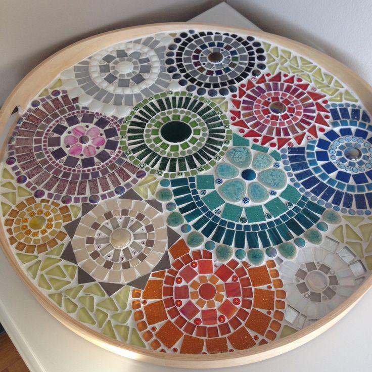 mozaiek dienblad multikleur mozaiek handgemaakt multikleur