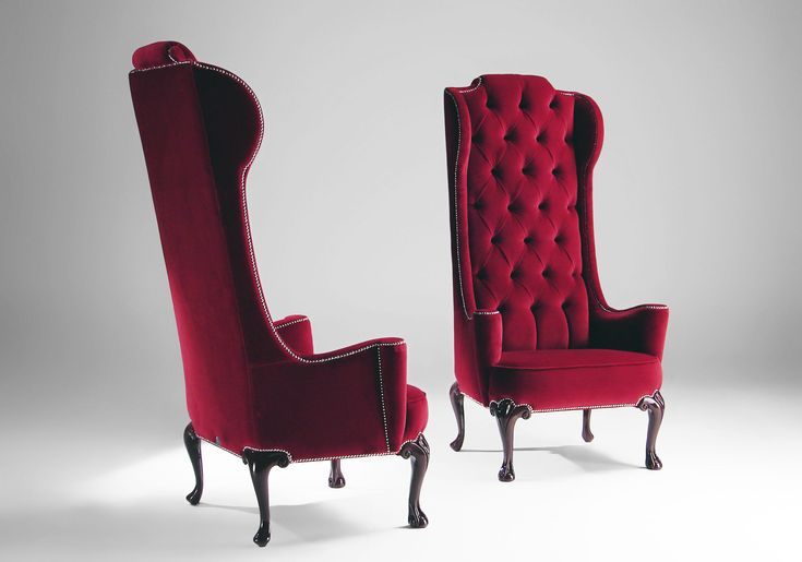 Attractive Classic Style Red Upholstery Velvet Armchair