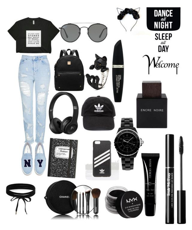 """black"" by anisiabt on Polyvore featuring beauty, Topshop, Joshua's, Boohoo, adidas, Ray-Ban, Max Factor, Chanel, NYX and Armani Beauty"