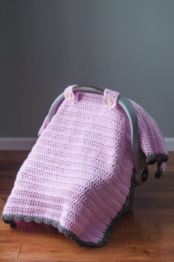 """The """"Thick and Quick"""" Crochet Car Seat Canopy Tent Cover Pattern. Projects for my Grandma and I"""