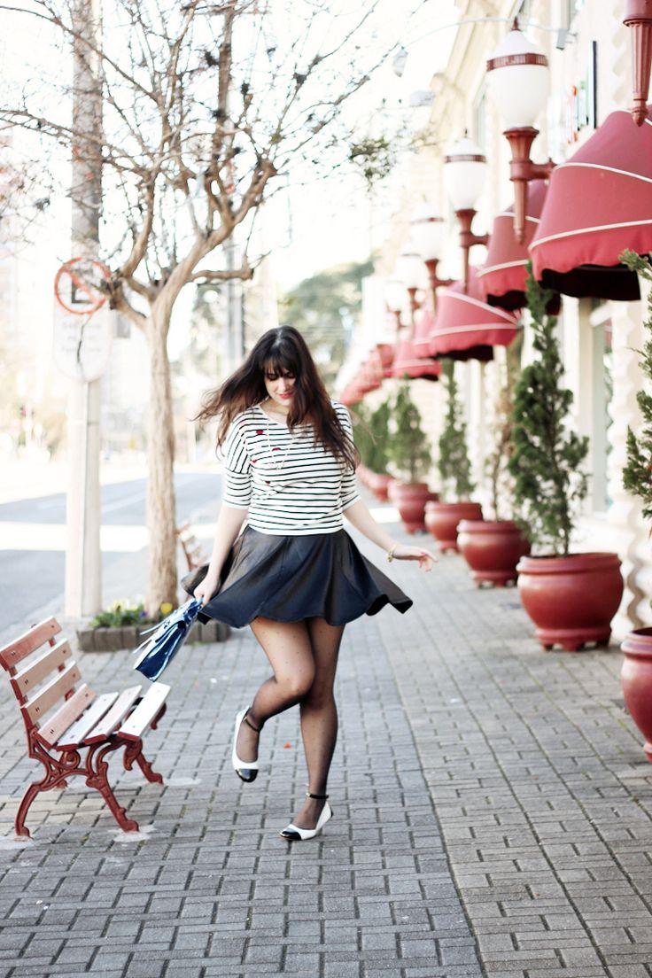 Bolsa Listrada Preta E Branca : Melhores ideias sobre saia preta rodada no