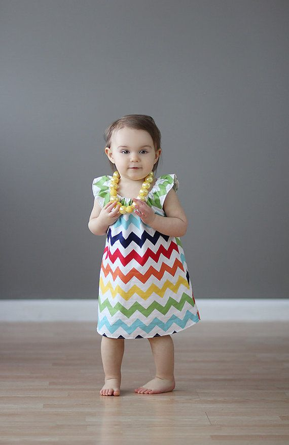 Dark Rainbow Chevron Simply Cute Dress Bow Party by blumoondesign, $34.00