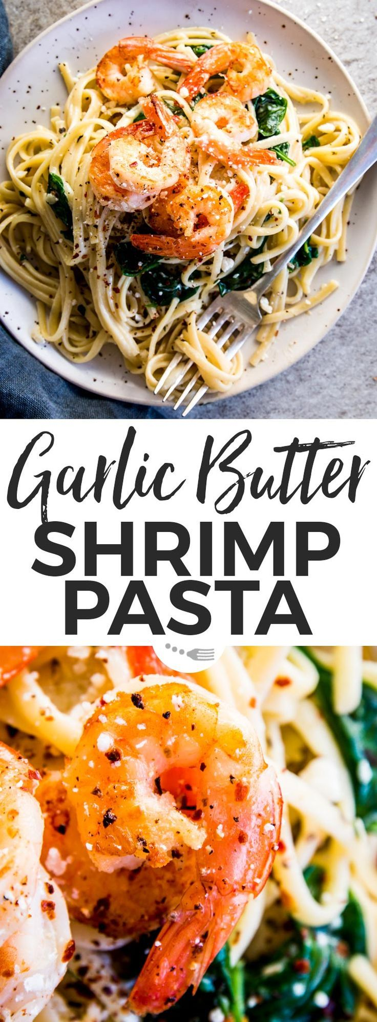 This Garlic Butter Shrimp Pasta is the quick weeknight dinner you've been looking for! Linguine smothered in a creamy sauce full of lemon and garlic flavors, tossed with browned shrimp. Quick to make (just 20mins!) and fancy enough for date night in or dinner party guests - the key to every pasta lover's heart! | #recipes #easyrecipes #easydinner #dinner #pasta #datenight #valentinesday #shrimp