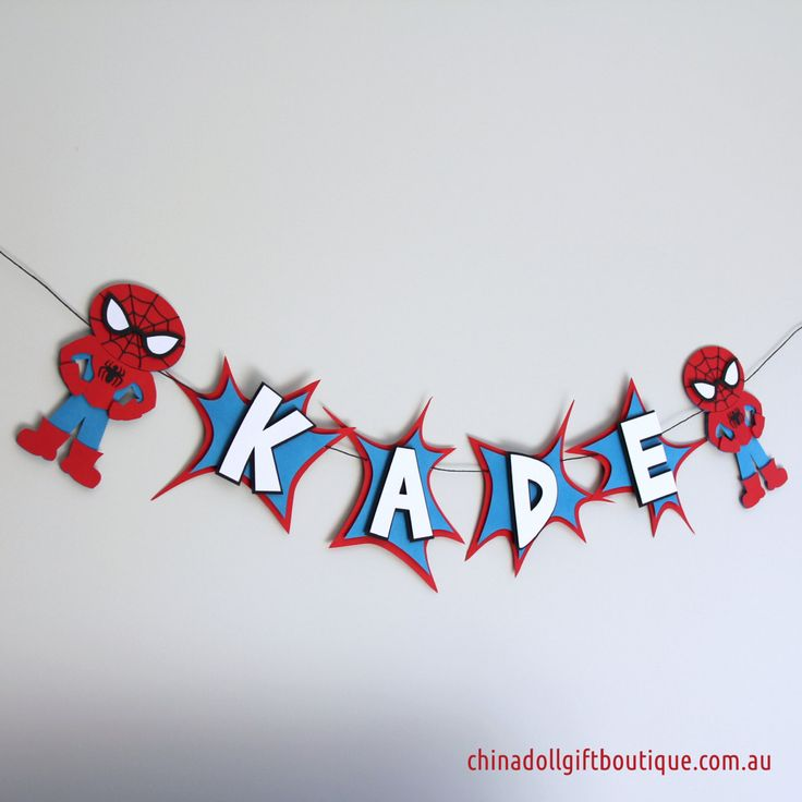spiderman party bunting personalised with name | superheroes inspired by batman, superman, spiderman, the hulk or captain america by chinadollgifts on Etsy