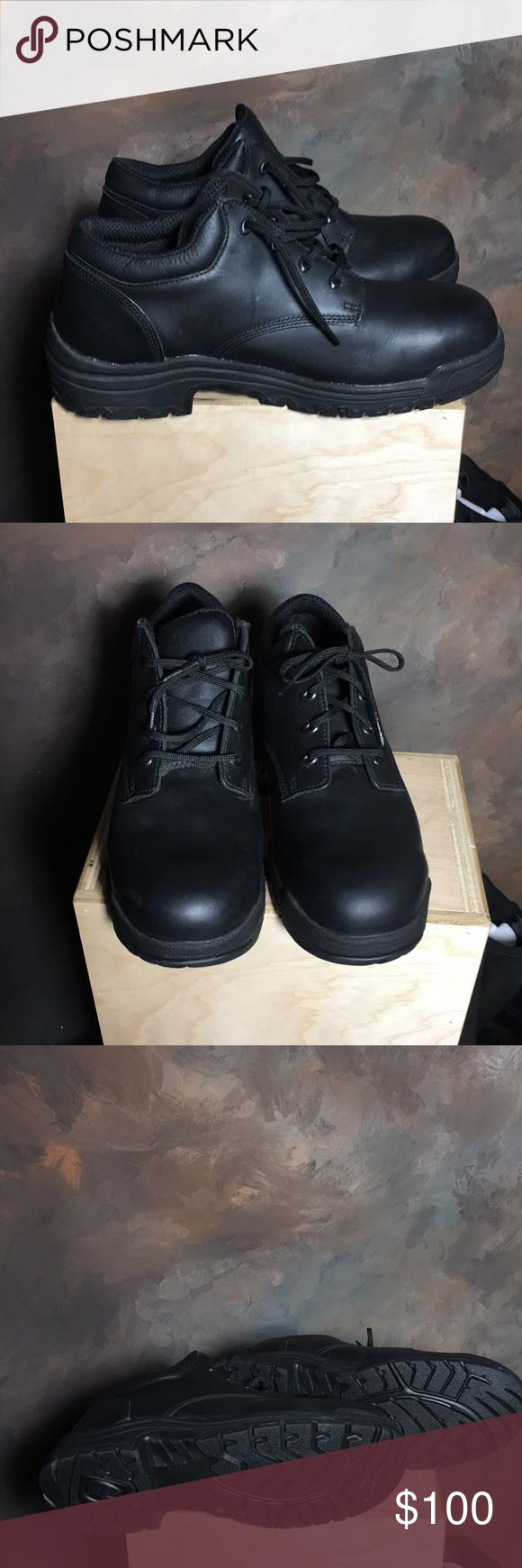 New Work Timberland ProTitan Safety Toe Shoes New Work Shoes.  Timberland Pro Titan Safety Toe Shoes.  Black leather.  Engineered to meet or excel ASTM standards for Safety Toe electrical hazard footwear.  New with stickers still on the insert. timberland pro Shoes