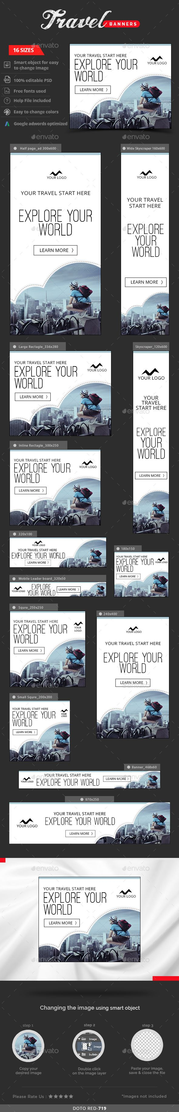 Travel Web Banners Template #design #ad Download: http://graphicriver.net/item/travel-banners/13112723?ref=ksioks