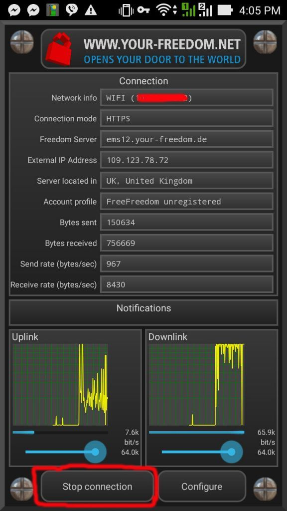 how to use your freedom vpn for android