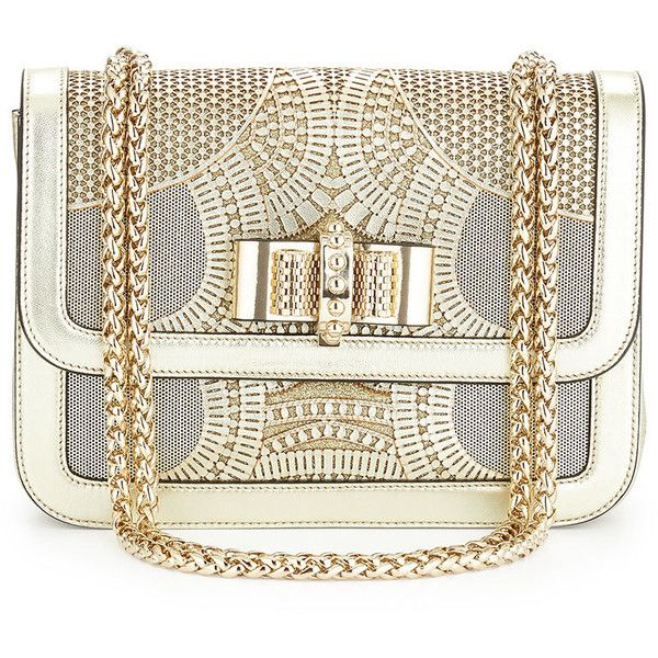 Christian Louboutin Sweet Charity Small Egypt Laser-Cut Shoulder Bag found on Polyvore featuring bags, handbags, shoulder bags, purses, bolsas, clutches, gold, white cross body purse, mini shoulder bag and white shoulder bag