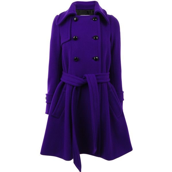 SONIA BY SONIA RYKIEL Wool double breasted trench coat ($325) ❤ liked on Polyvore featuring outerwear, coats, jackets, casacos, double breasted coat, wool trench coats, double-breasted trench coat, purple trench coat and purple coats