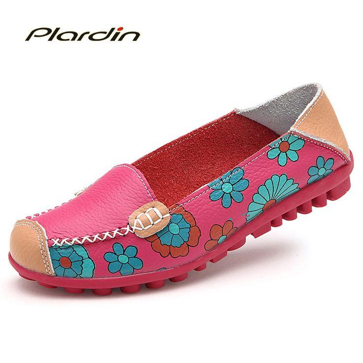 2017 Cow Muscle Ballet Summer Flower Print Women Genuine Leather Shoes Woman  Flat Flexible Nurse  Peas Loafer Flats