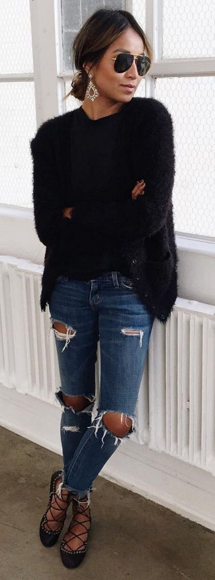 #spring #summer #street #style #outfitideas | Black Fuzzy Knit + Ripped Denim | Sincerely Jules