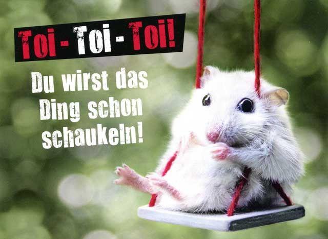 Postkarte mit lustigen Sprüchen - Toi Toi Toi! Du wirst