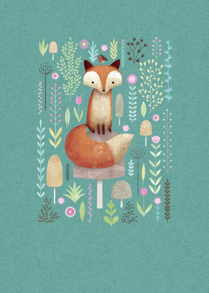 bellasecretgarden:  (via Pin by Erin Russek on Illustration | Pinterest) I love the background color and texture and how cute is this fox among the pretty flowers?:)                                                                                                                                                     More