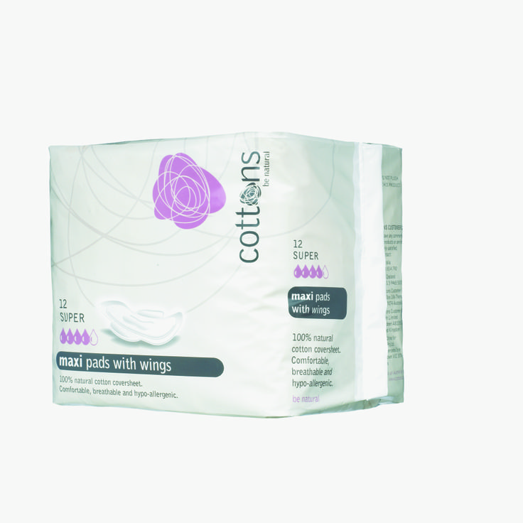 Cottons Super Maxi Pads with Wings are highly aborbent, hypo-allergenic and very comfortable. They are suitable for heavy flow and overnight use.  Pack quantity: 12