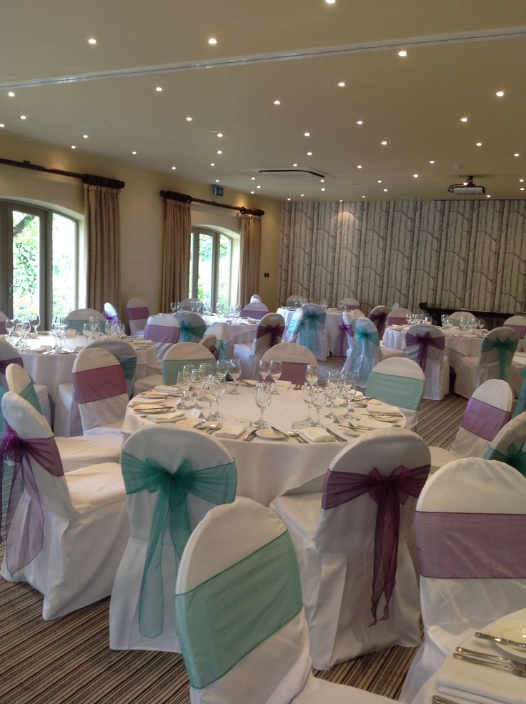 Chair covers with plum and jade sashes