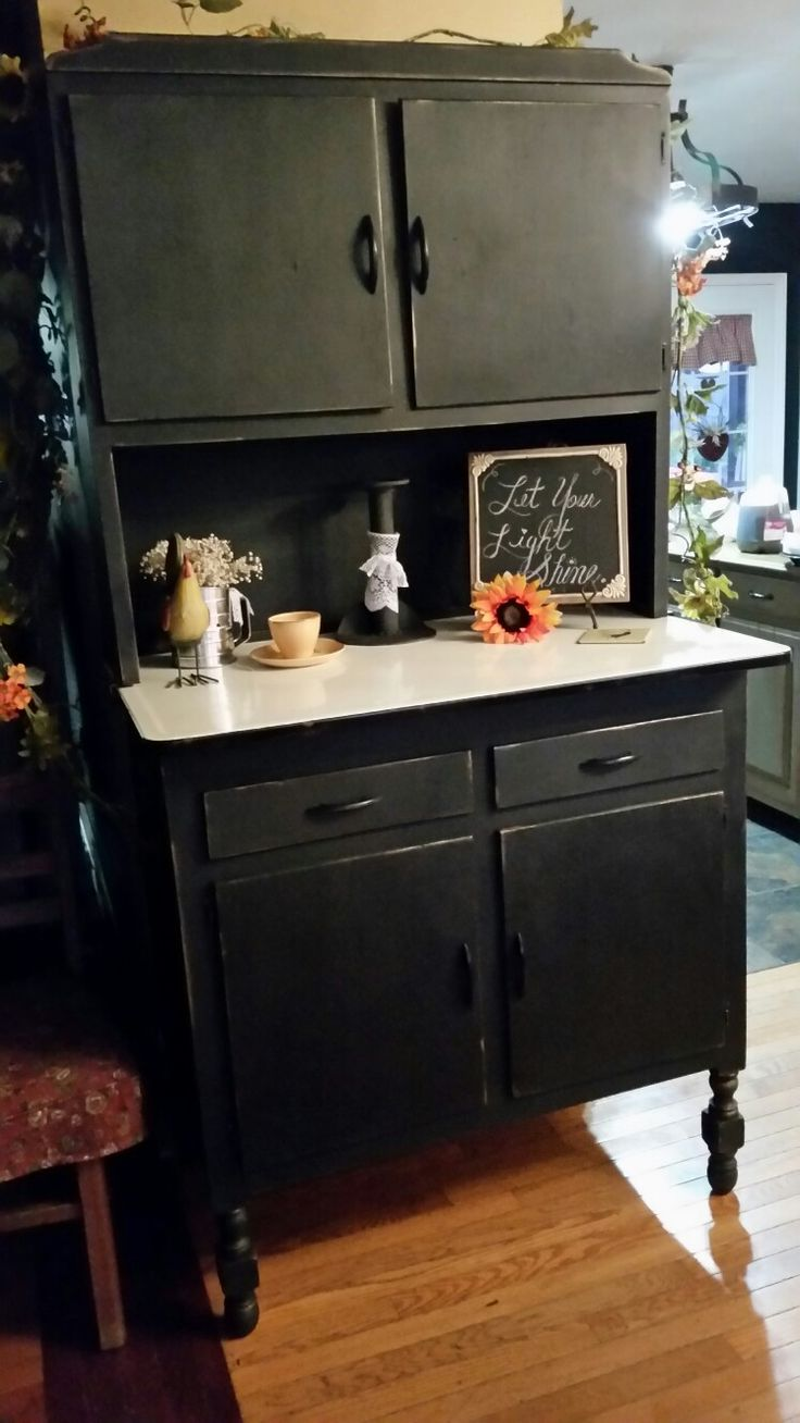 my mamaws old hoosier cabinet custom coal color with clear wax and