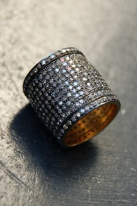 And this is def the ring I will wear - Cigar band diamond ring ...    Rona Pfeiffer   Blue diamond cigar band ring*   4.72 ct blue pave diamond and 0.96 ct yellow pave diamond ring set in sterling silver .925 and 14K gold backing   Price (USD): $3,900.00