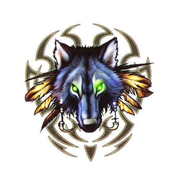 Tribal wolf temporary tattoo - 2x3 inch