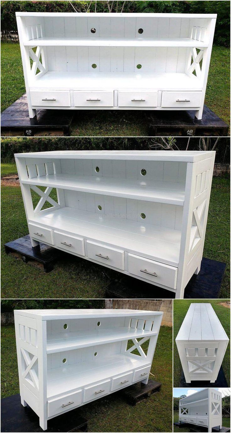 Recycled Wood Pallets Made Entertainment Center | Wood ...