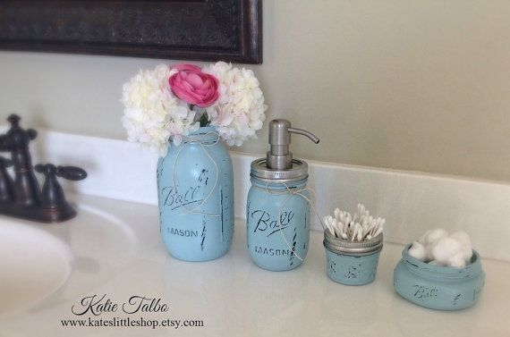 Mason jar bathroom kit bathroom blue farmhouse decor for Bathroom decor mason jars