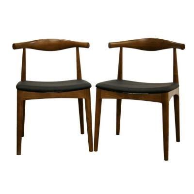 Baxton Studio Sonore Solid Wood Mid-Century Style Accent Dining Chair in Brown (Set of 2)-DC-593 - The Home Depot