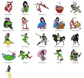 Free Machine Embroidery Designs Download: Mulan - 21 designs