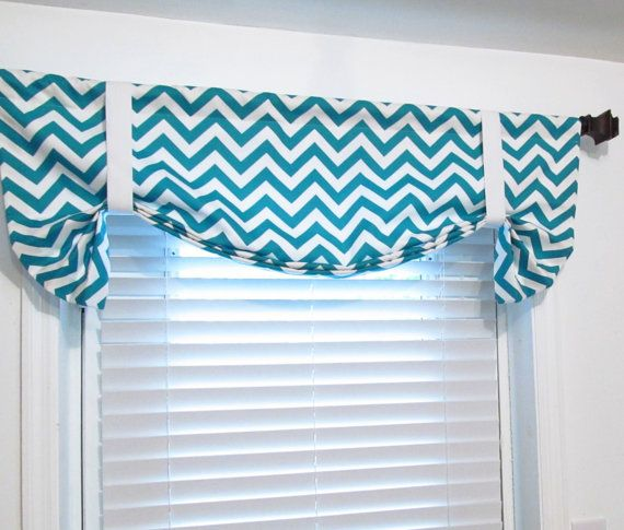 Tie Up Curtain Valance Turquoise Chevron By Supplierofdreams Hand Made By Me Pinterest