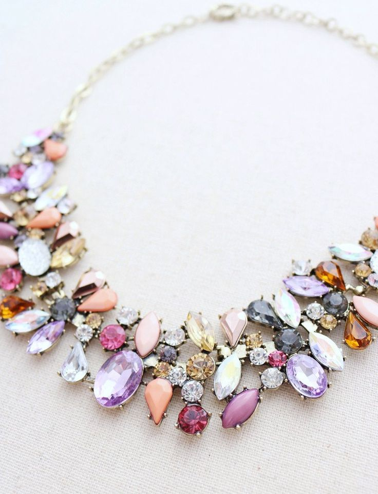 "♥ If a bouquet of flowers could be a necklace this would be it! ♥ Gorgeous array of colors perfect for everyday or that special occasion. ♥ Adjustable chain length of 18""-21"" (clasp will fit into link"