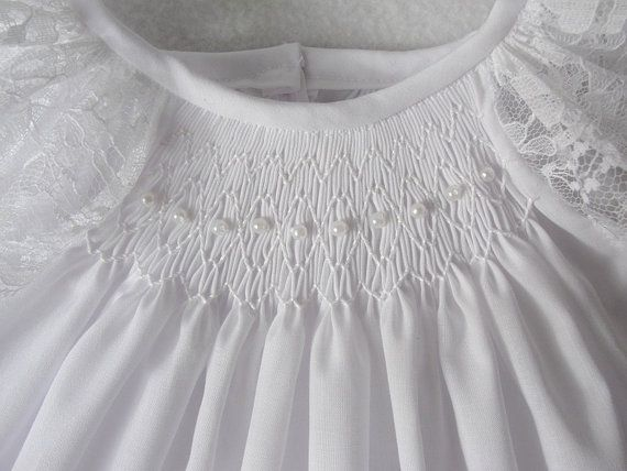 Smocked baby dress smocked christening dress ivory or white