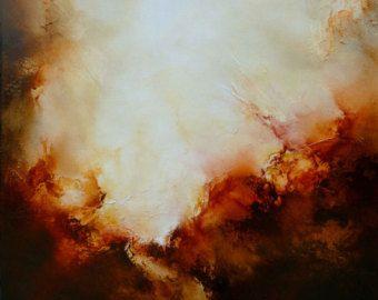Groot doek Abstract landschap van SimonkennysPaintings op Etsy