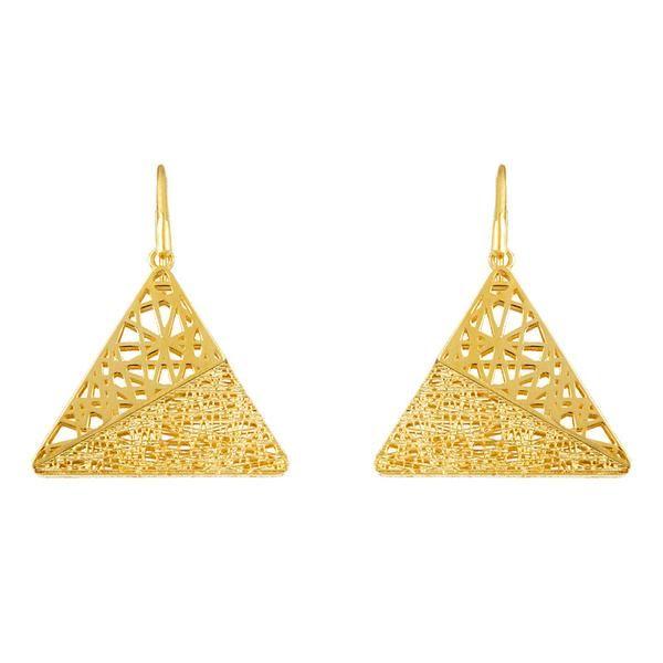 Triangle 14k Solid Gold Earring Geometric Design