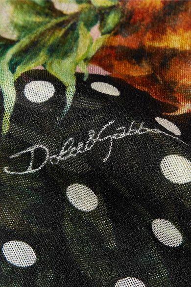 Dolce & Gabbana - Printed Silk-gauze Scarf - Pink - one size