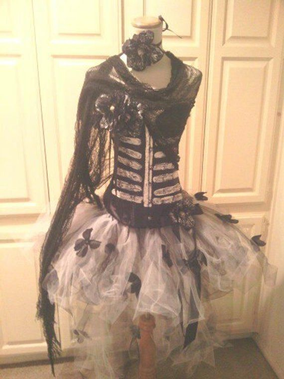 1f7337a8e1d26 Custom size, Day of the dead costume, high low tutu skirt, day of ...