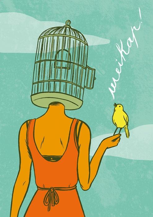 #illustration by Giulia Sagramola Wake up #girl #cage #bird