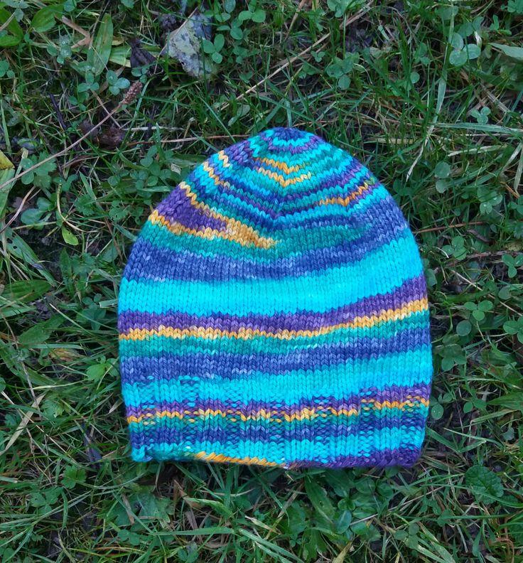 Handknit Merino Wool Mens Multi Colour Hat by TheGeordieKnit on Etsy
