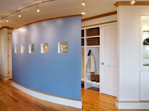 Decoration, Awesome Blue Curved Partition As An Inspiring Mudroom Half Wall Room  Dividers Design Ideas  Room Divider Design Ideas