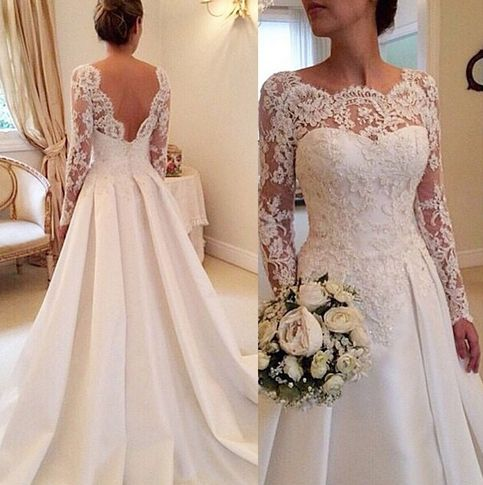 Long sleeves wedding dress, lace wedding dress, cheap wedding dress, Long Floor Length Wedding Dress,bridal gown SEWD00068