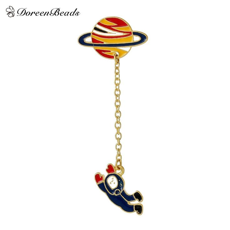 DoreenBeads 2016 Vintage Designer Enamel Spaceman Planet Charm Costume Brooch Pins Jewelry Accessories for Women 6.3x2.5cm 1PC