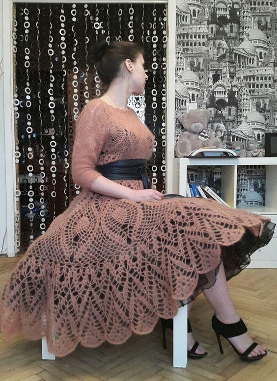Vestidos em crochê vintage (com imagens) | Vestidos de crochê, Casamento de crochê, Moldes para vestido em crochê