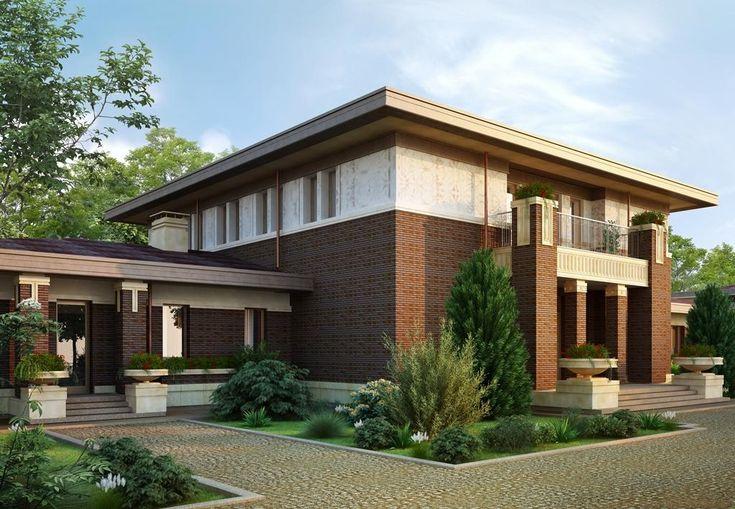Коричневый фасад с плоской крышей