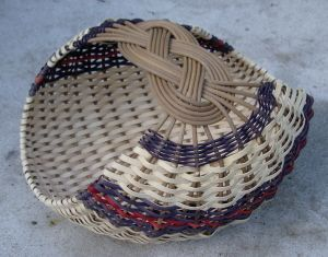 josephine knot basket. It is OK to leave space on spokes before starting to weave.